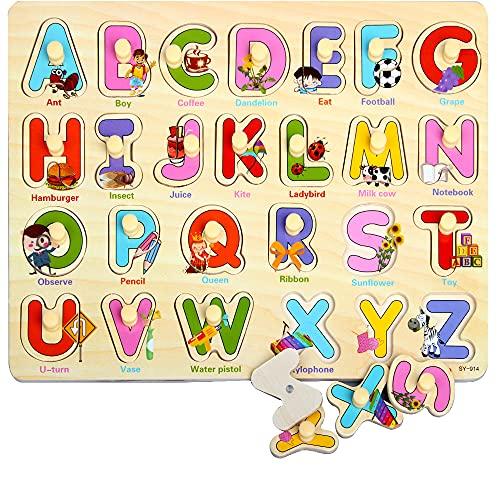 Rompecabezas de Madera, ZoneYan Puzzles de Madera, Regalo Ideal Toys Puzzle Infantil de Madera, Los Rompecabezas de Madera Incluye 4 Tipos de Rompecabezas Alfabeto Número Ocupaciones (Alfabeto)