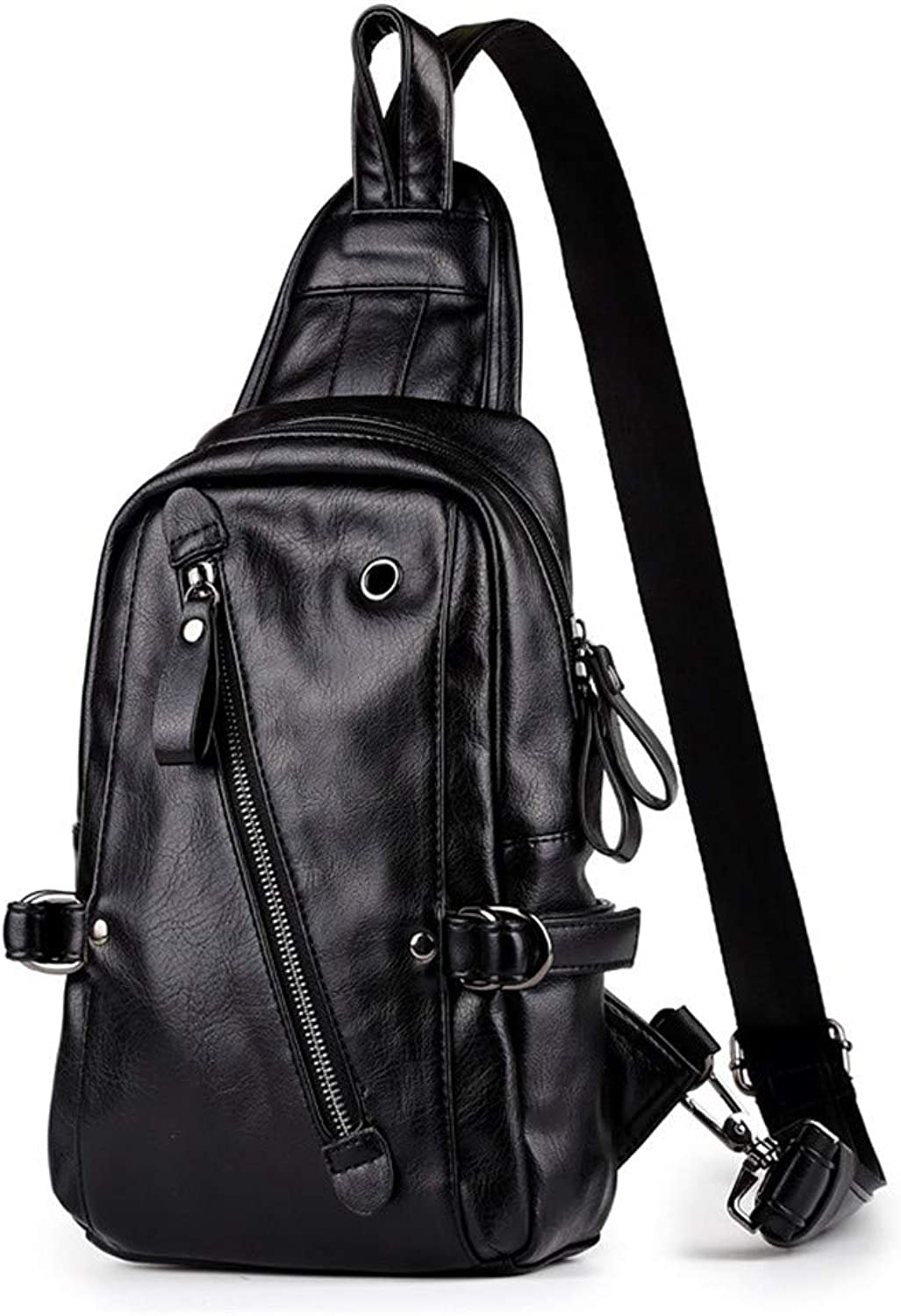 Sling Bag, Men Chest Bag with Headphone Cable Hole PU Leather Sling Bag Crossbody Shoulder Backpack Travel Bags Causal Daypack Messenger Bag for Outdoor Sports for Bicycle Sport Hiking Travel Bookbag