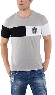 Avtosrno T Shirts for Men Short Sleeve Crew Neck Cotton Man Tee Shirt with Color Block Design