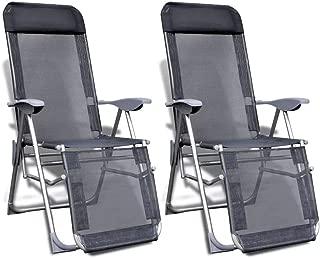 vidaXL Folding Garden Chairs 2 pcs Aluminium and Textilene Gray