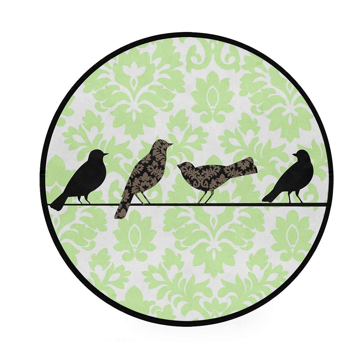 旋律的したい問い合わせるラウンドマット 鳥柄 緑 円形マット 滑り止めのカーペットの丸い部屋 高級 丸いラグ 円形 リビング 子ども部屋 柔らかい エコ 防音 防カビ抗菌 オールシーズン使用 直径92cm