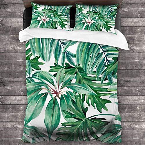 EollxC - Juego de cama de 3 piezas con 2 fundas de almohada, diseño de selva tropical