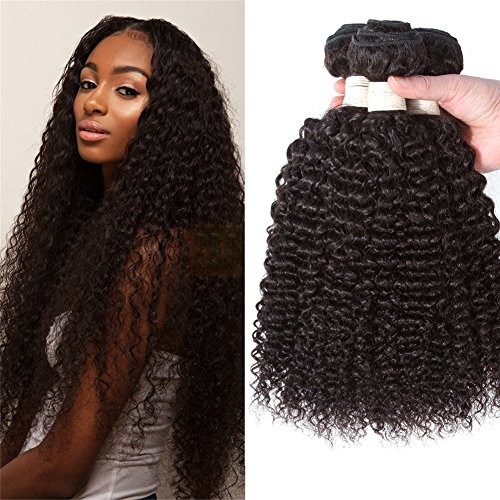 12A Kinky Curly Virgin Hair Weave 3 Bundles Deals Malaysian Jerry Curly 100% Human Hair Weave Unprocessed Afro Curly Human Hair Extensions Natural Color 24'22' 20' Bohemian Curly Pecwu