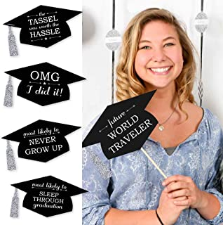 Big Dot of Happiness Silver - Hilarious Graduation Caps - Graduation Photo Booth Props Kit - 20 Count