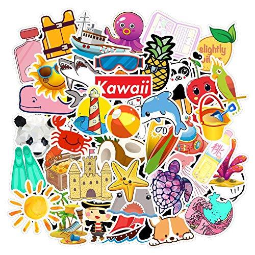 JZLMF Lindo Paquete de Pegatinas Kawaii para el portátil, Nevera, teléfono, monopatín, Maleta de Viaje, Equipaje, Pegatina Fresca de Verano, 50 Uds.