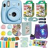 Fujifilm Instax Mini 11 Camera + Fuji Instant Instax Film (40 Sheets) Includes Case + Assorted Frames + Photo Album + 4 Color Filters and More Accessories Bundle (Sky Blue)