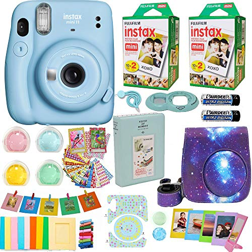 Fujifilm Instax Mini 11 Camera Sky Blue 16654762 + Fuji Instant Instax Film (40 Sheets) Includes Galaxy Carrying Case + Assorted Frames + Photo Album + 4 Color Filters and More Accessories Bundle