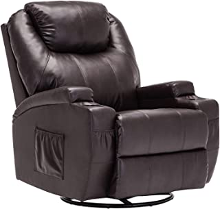 Mecor Massage Recliner Chair PU Leather Recliner Chair with Heat Rocker Recliner with 360 Degree Swivel/Cup Holders/Remote Control for Living Room (Brown)