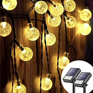 Koopower 2 Pack 30 Led 16ft Outdoor Solar Globe String Light 8 Modes Waterproof Fairy Ball Lights Crystal Ball Lights with...