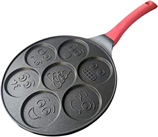 Sohapy Non-Stick Pancake mold Pan maker Egg poacher cooker Fried Egg Molds with 7 Unique Flapjack Faces Silicon Handle Alu...