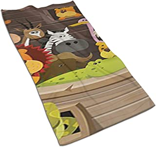 Animals Inside Noah's Ark with Lion Elephant Giraffe Kitchen Towels - Dish Cloth - Machine Washable Cotton Kitchen Dishcloths,Dish Towel & Tea Towels for Drying,Cleaning,Cooking,Baking