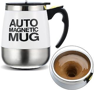 Ysinobear マグカップ 自動ミキサー ステンレス 電動シェーカー フタ付きマグ 蓋付きカップ コーヒー用ボトル 撹拌 おしゃれ 便利 真空断熱マグ 磁化カップ (ホワイト)