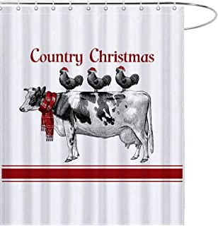 MAEZAP Vintage Cow Chicken Christmas Farm Shower Curtain Bathroom Decor Waterproof Polyester with Hooks 69x70 Inchs