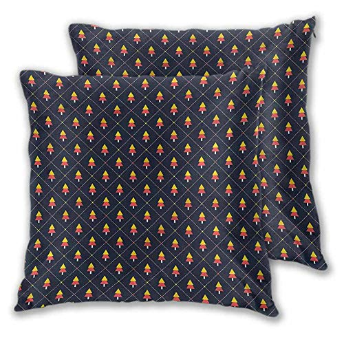 Xlcsomf Christmas Pillowcase Sofa hug, 12 x 12 Inch Pine Trees Checkered For sofa Christmas decoration Set of 2