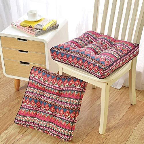 Cojín de asiento acolchado cuadrado, cojines gruesos para sillas de oficina para interiores y exteriores, alfombrilla de tatami, muebles, almohadillas de asiento con mullido transpirable (color: rojo,