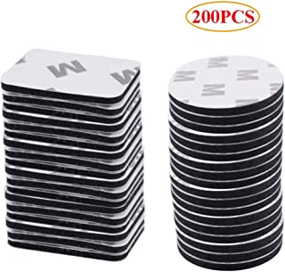 200PCS Double Sided Foam Tape Strong Pad Self-Adhesive Mounting Heavy Duty Decorating Stick on Wall, Mirror, Bedroom, Door (S, Black)