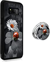 Samsung Galaxy S8 case Ladybug Daisy Full Body Case with Holder Ring Cover Slim Fit Heavy Duty Protection case Shockproof case Compatible with Samsung Galaxy S8