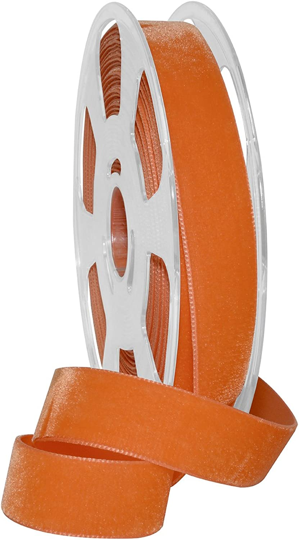 Morex Ribbon Nylvalour Velvet Ribbon, 01225 10601, Pumpkin, 7 8  x 11 yd