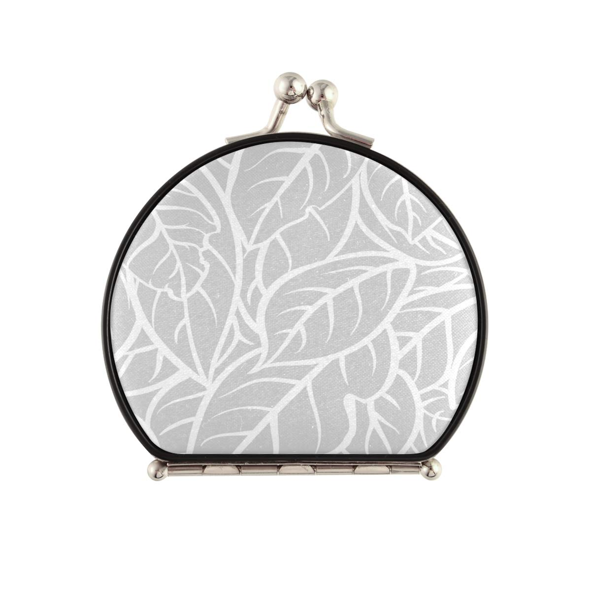 Magnifying Compact Cosmetic Mirror Outline 2021 autumn and winter new Grey Milwaukee Mall Leaf Make Pocket