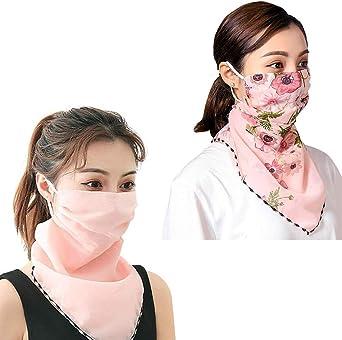 Women Sun Face Cover Colorful Chiffon Neck Gaiter Face Wrap Non-Slip UV Protection Scarf Balaclavas