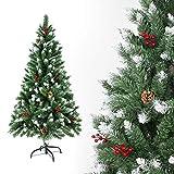 SunJas Árbol de Navidad Artificial Pino Material PVC, con Blanco Nevado, Frutos Rojos,...