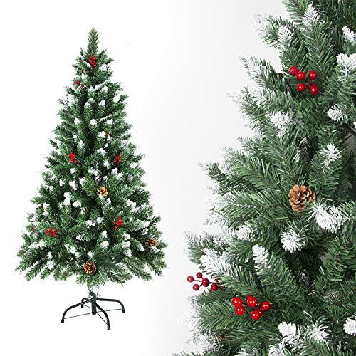 SunJas Árbol de Navidad Artificial Pino Material PVC, con Blanco Nevado, Frutos Rojos, Verdadera Piñas, Soporte de Metal, Arbol para Decoración Navideña (120cm, 200puntas)