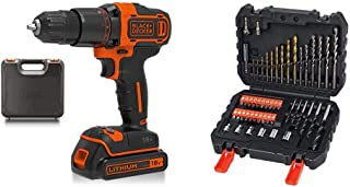 BLACK+DECKER 18 V Cordless 2-Gear Combi Hammer Drill Power Tool with Kitbox, 1.5 Ah Lithium-Ion, BCD700S1K-GB with Black +...
