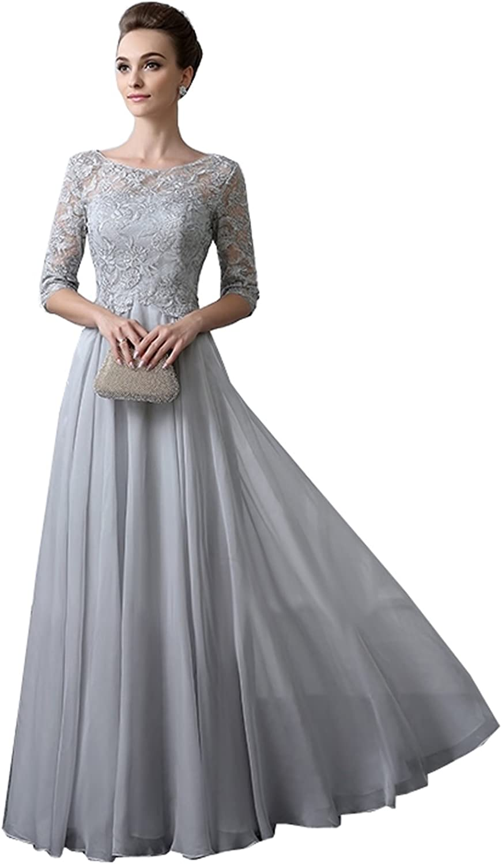 Kelaixiang Light Grey Women's Mother of The Groom Dresses Full Length Half Sleeves