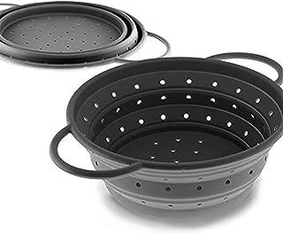 Coolinato Sieb aus Silikon, faltbar spülmaschinenfest, Nudelsieb Abtropfsieb Dampfgar Einsatz, Küchensieb, 16 cm Grau