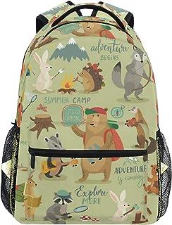 Camping Animales Selva Mochila Escolar para Niños Niñas Niños Bolsa de Viaje Bookbag