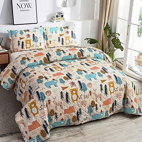 Juego de edredón para niños y niños, diseño de oso de dibujos animados para cama matrimonial/queen, juego de cama con 2 fundas de...