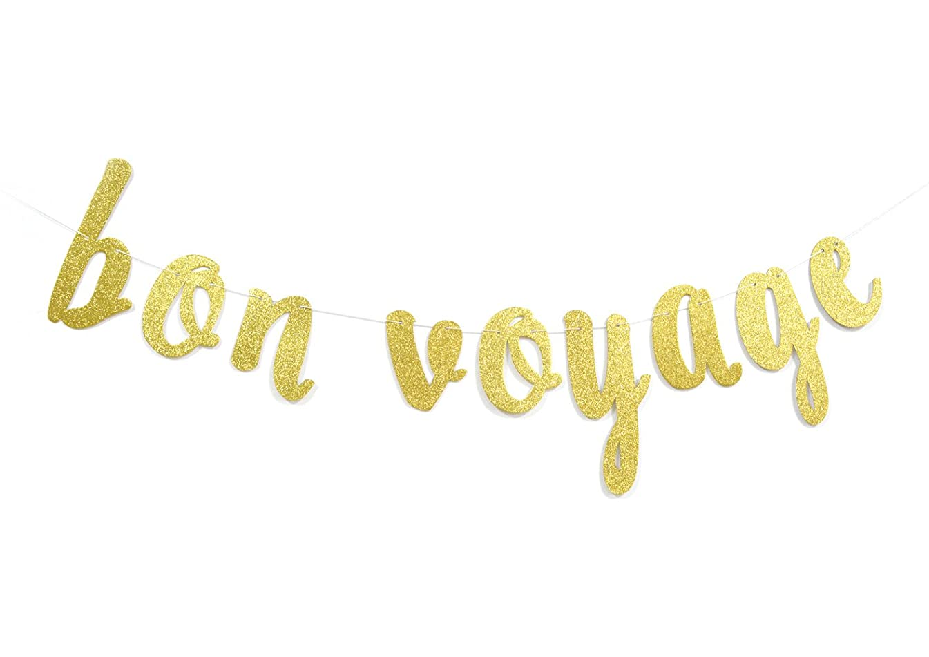 Firefairy Bon Voyage Gold Glitter Cursive Party Banner, Moving Away,Retirement Party Decorations Sign