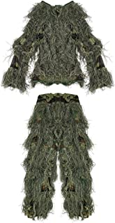 Pellor 3D Camouflage Clothing Ghillie Suit for Outdoor Jungle Woodland Hunting Bird Watching CS, Adult & Kids