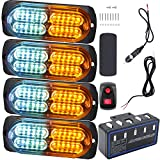 Led Warning Lights, 4pcs Emergency Warning Caution Hazard Construction Ultra Slim Sync Feature Car Truck with Main Control Box Surface Mount (White Amber)