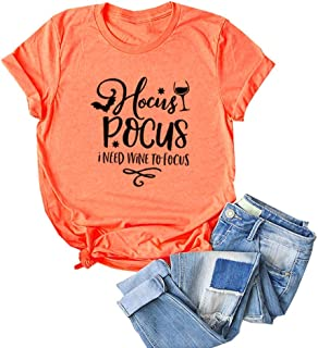 Women Hocus Pocus I Need Wine to Focus Letter Print Tops Round Neck Short Sleeve Tee Novelty T-Shirt