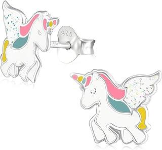 Laimons- Orecchini a perno per bambine e ragazze, unicorno rosa, colore:bianco, con glitter colorati, in argento Sterling ...