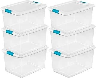 STERILITE 64 Quart Clear Storage Tote W/Lid, 23-3/4x16x13-1/2