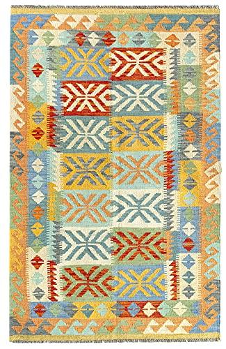 HAMID Alfombra Kilim Herat - 100% Lana Tejida a Mano - Alfombra étnica de salón, Dormitorio, Comedor (151x100cm)