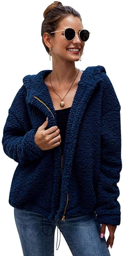 Womens Fashion Long Sleeve Lapel Zip Up Hooded Faux Coat Shearling Shaggy Jacket with Pockets Warm Winter