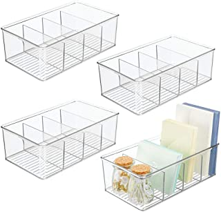 mDesign Plastic Office Storage Organizer Bin Box - 4 Divided Sections - Cabinets, Closets, Drawers, Desks, Tables, Workspace, 4 Pack - Clear photo