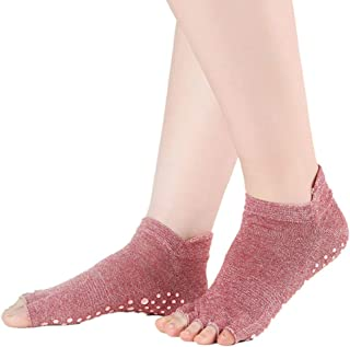 JAGENIE女性の女の子通気性のあるToeless Half Toe Yogaダンスピラティスショートアンクルソックスソリッドキャンディーカラースキージ(スキッドグリップなし)4色