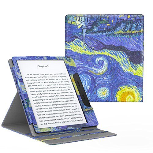 MoKo Funda Compatible con All-New Kindle Oasis (9th and 10th Generación Solo, 2017 and 2019 Release) - Superior Voltear Vertical Funda con Auto Sueño/Estela - Noche Estrellada