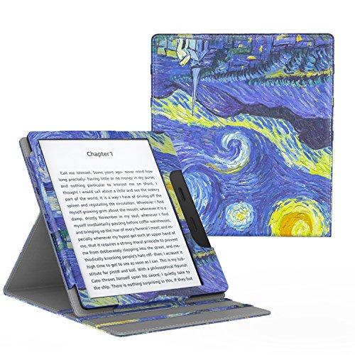 MoKo Compatible con All-New Kindle Oasis Case(solo 10ª e 9ª Generazione, 2019 e 2017 Release),Copertura di Vibrazione Verticale Custodia con Funzione Auto Sveglia/Sonno - Notte Stellata