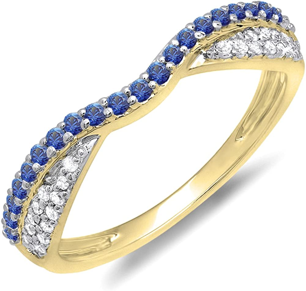 Dazzlingrock Collection 14K Gold Round Blue Sapphire & White Diamond Ladies Wedding Band Stackable Ring