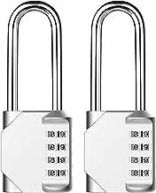 Lanboo Combinations cijferslot, set van 2 stuks, 4-cijferig anti-roest, weerbestendig hangslot, ideaal veiligheidsslot voo...