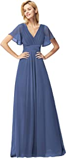 Women's Short Sleeve V-Neck Long Evening Dress 09890
