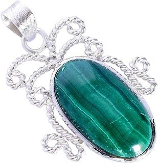 Ravishing Impressions Jewellery Colgante de plata de ley 925 con piedras preciosas de malaquita, fabulosa joyería hecha a ...