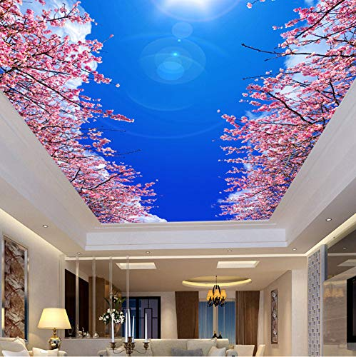 Mznm Fototapete, personalisierbar, Vliestapete, blauer Himmel, weiße Wolken, Kirschblüten, 3D Wohnzimmer, Schlafzimmer, Deckentapete 120x100cm