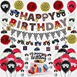 54PCS Monster Truck-Themed Birthday Party Supplies, Including Racing Alphabet Banners, Triangular Flags, Hanging Spiral Ornaments, Latex Balloons and Handmade Paper Flower Decorations