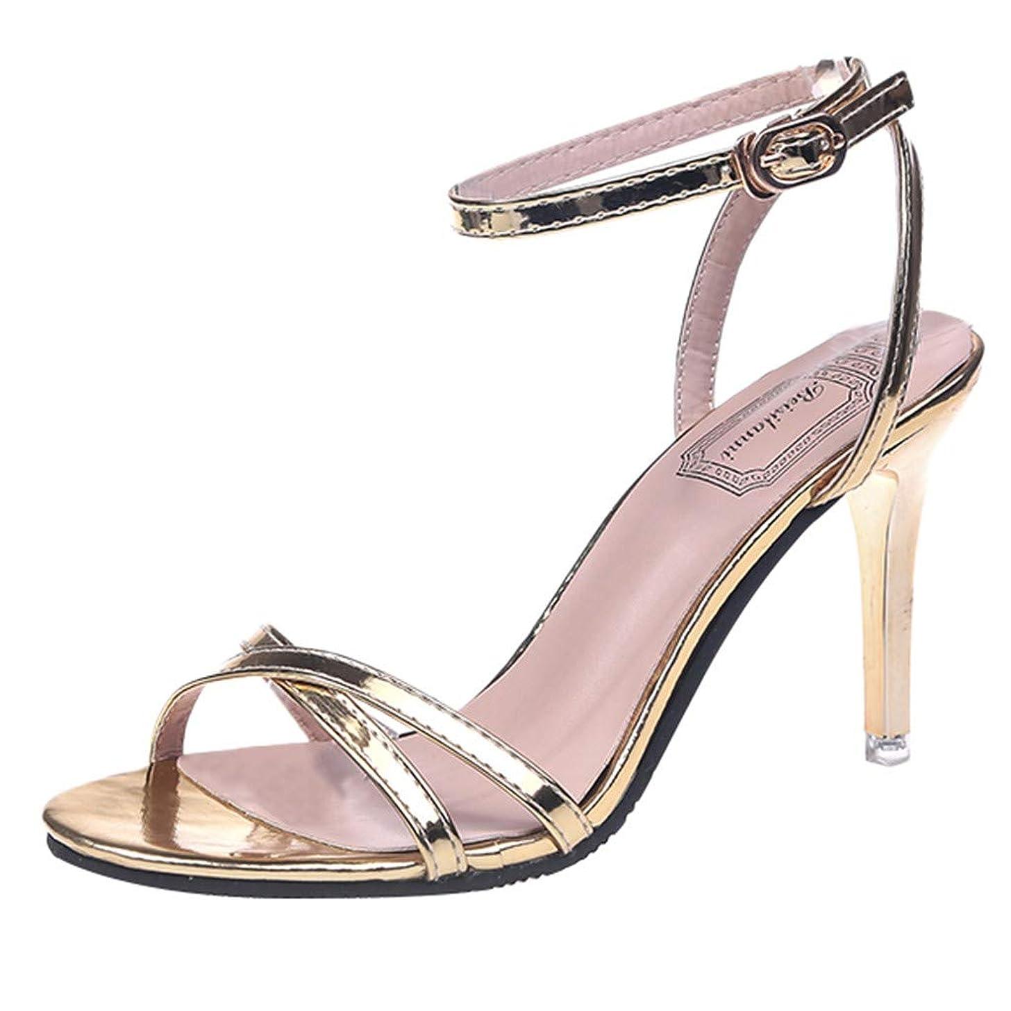 Women's Fashion Ankle Strap Kitten Stiletto High Heel Peep Toe Shoes Casual Office Heeled Sandals JHKUNO